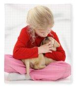 Girl With Puppy Fleece Blanket