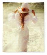 Girl With Sun Hat Fleece Blanket