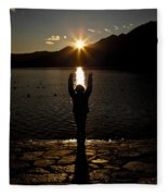 Girl With Sunset Fleece Blanket