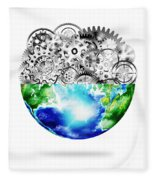 Globe With Cogs And Gears Fleece Blanket