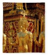 Golden Buddhas Fleece Blanket