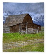 Grand Teton Iconic Mormon Barn Fence Spring Storm Clouds Fleece Blanket
