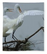 Great Egret Pair Fleece Blanket