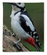 Great Spotted Woodpecker Fleece Blanket
