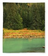 Grizzly Bear Fishing In Chilkoot River Fleece Blanket