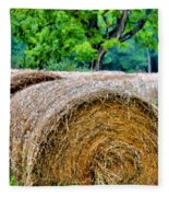 Hay Rolls Fleece Blanket
