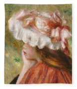Head Of A Young Girl In A Red Hat  Fleece Blanket