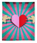 Heart And Cupid On Paper Texture Fleece Blanket