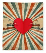 Heart And Cupid With Ray Background Fleece Blanket