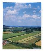 High Angle View Of Fields, Stradbally Fleece Blanket