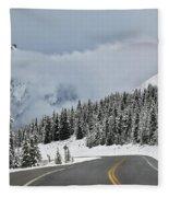 Highway 40 In Winter, Highwood Pass Fleece Blanket