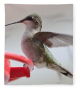 Hummingbird With Wings Back Fleece Blanket
