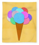 Ice Cream On Hand Made Paper Fleece Blanket