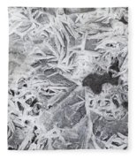 Ice Patterns On Pond, Alberta Canada Fleece Blanket