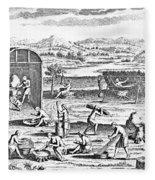 Iroquois Village, 1664 Fleece Blanket