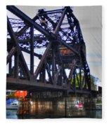 Jack-knife Bridge At Erie Canal Harbor Fleece Blanket