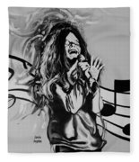 Janis In Black And White Fleece Blanket