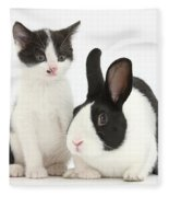 Kitten And Dutch Rabbit Fleece Blanket
