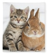 Kitten And Netherland Dwarf-cross Rabbit Fleece Blanket