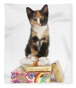 Kitten On Packages Fleece Blanket