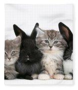 Kittens And Rabbits Fleece Blanket