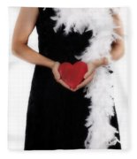 Lady With Heart Fleece Blanket