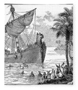 Landing Of Leif Ericsson Fleece Blanket