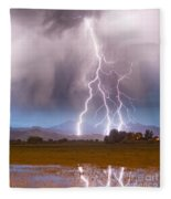 Lightning Striking Longs Peak Foothills 6 Fleece Blanket