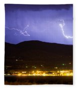 Lightning Striking Over Ibm Boulder Co 2 Fleece Blanket