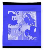 Mickey In Negative Light Blue Fleece Blanket
