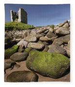 Minard Castle And Rocky Beach Minard Fleece Blanket
