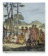 Missionary And Native Americans Fleece Blanket