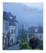 Misty Dawn In Saint Cirq Lapopie Fleece Blanket