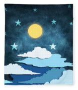 Moon And Stars Fleece Blanket