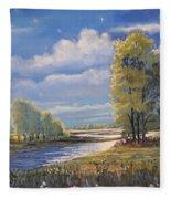 Moonlight On Clear Creek Fleece Blanket