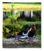 Morning By The Pond Fleece Blanket