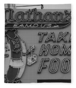 Nathan's Famous In Black And White Fleece Blanket
