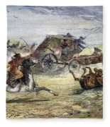 Native American Attack On Coach Fleece Blanket