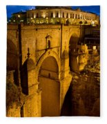New Bridge In Ronda Fleece Blanket