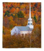 New England Church In Autumn Fleece Blanket