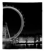 Night Image Of The London Eye And River Thames  Fleece Blanket