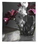 Pink Gerbera Floral Still Life Fleece Blanket