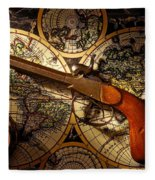 Old Gun On Old Map Fleece Blanket