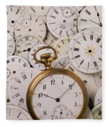 Old Pocket Watch On Dail Faces Fleece Blanket