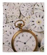 Old Pocket Watch On Dail Faces Fleece Blanket