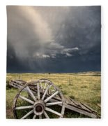 Old Prairie Wheel Cart Saskatchewan Fleece Blanket