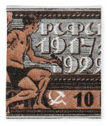 old Russian postage stamp Fleece Blanket