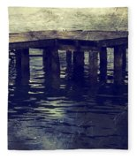 Old Wooden Pier With Stairs Into The Lake Fleece Blanket