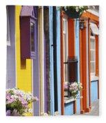 Painted Buildings On Main Street In Fleece Blanket