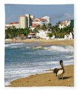 Pelicans On Beach In Mexico Fleece Blanket